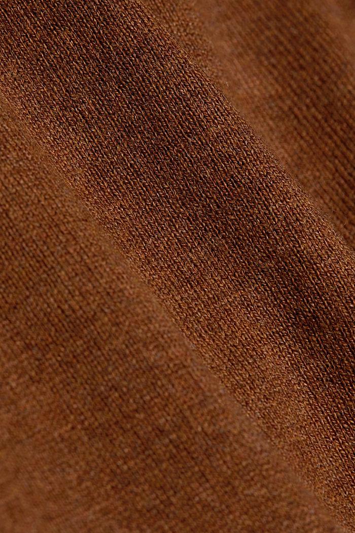 Basic crewneck jumper, organic cotton, TOFFEE, detail image number 4