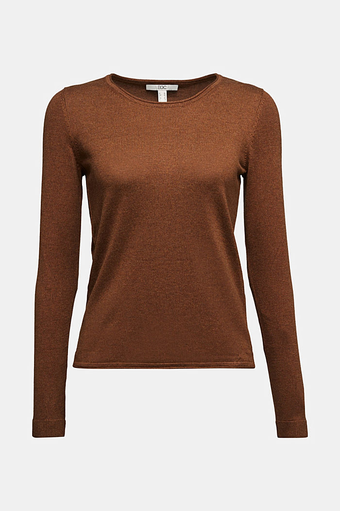 Basic crewneck jumper, organic cotton, TOFFEE, overview