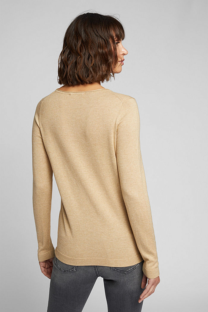 Basic crewneck jumper, organic cotton, BEIGE, detail image number 3