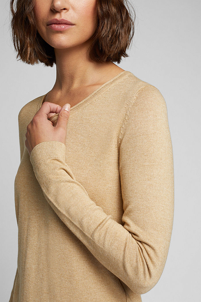 Basic crewneck jumper, organic cotton, BEIGE, detail image number 2
