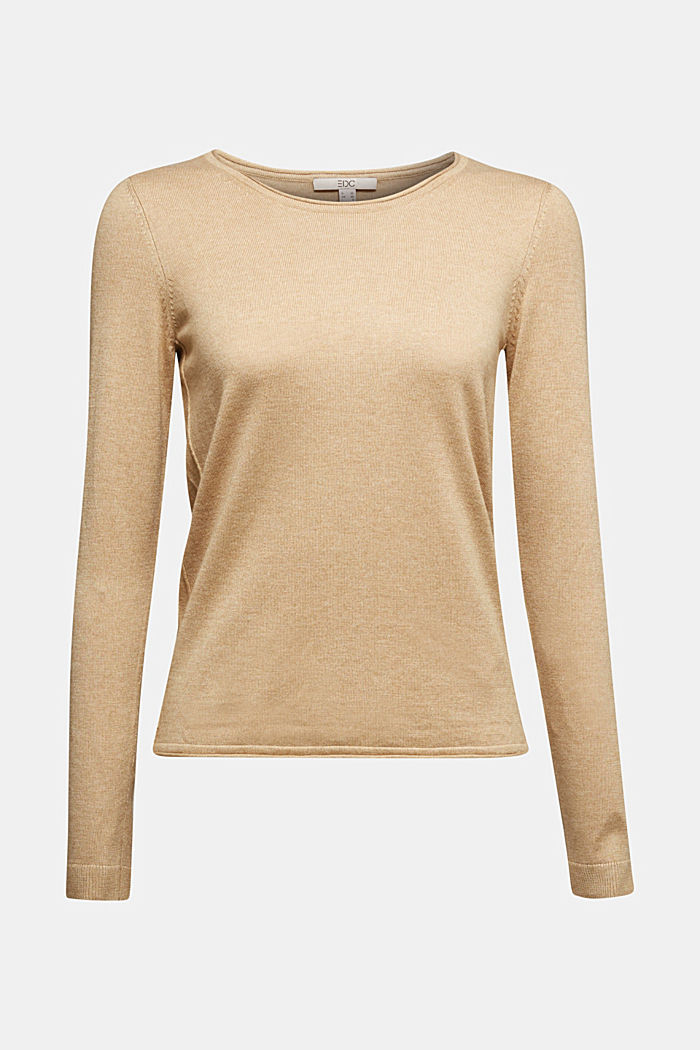 Basic crewneck jumper, organic cotton, BEIGE, detail image number 5
