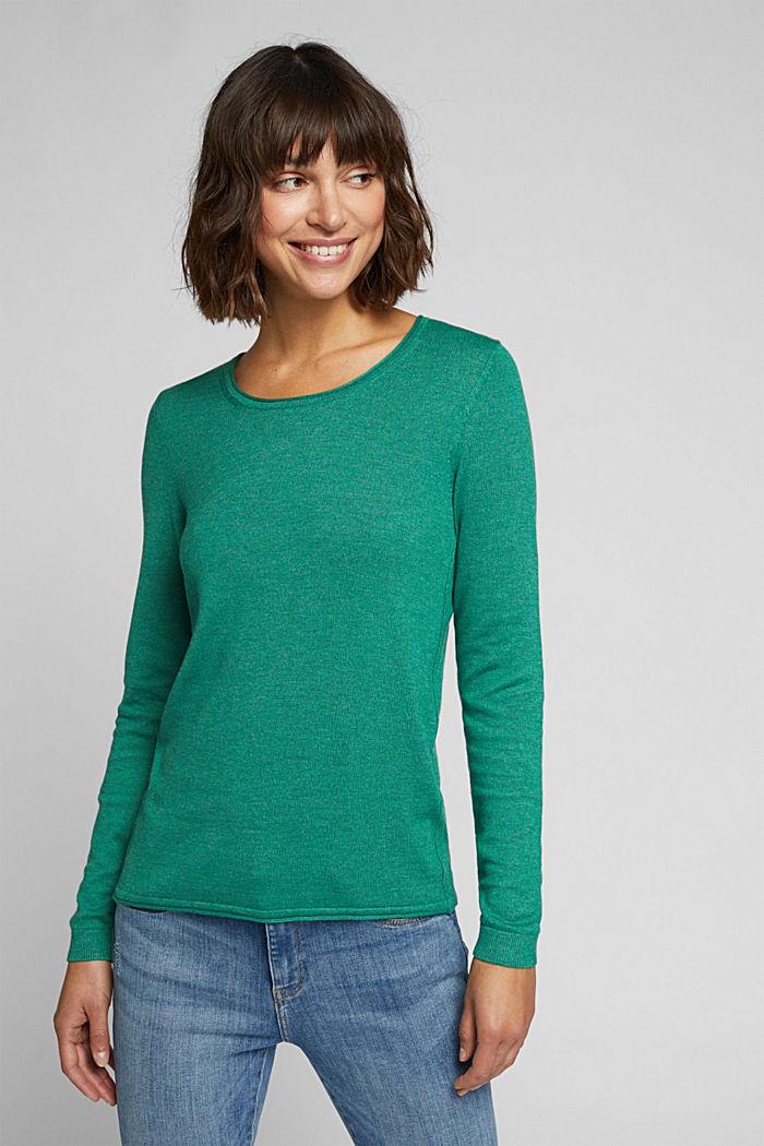 Basic crewneck jumper, organic cotton, DARK GREEN, detail image number 0