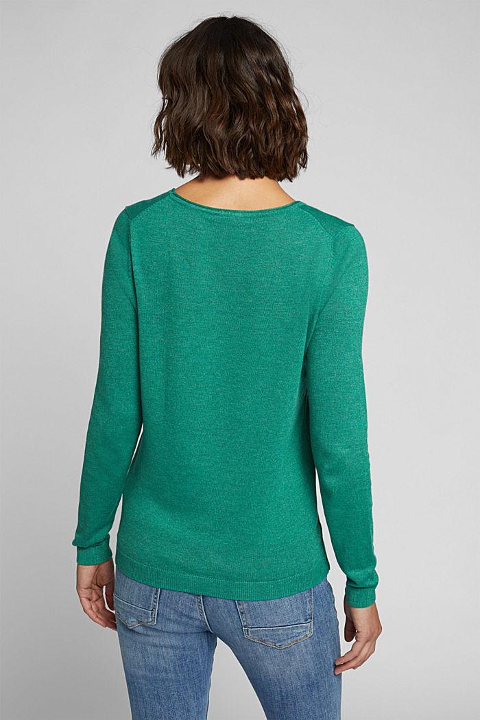 Basic crewneck jumper, organic cotton, DARK GREEN, detail image number 3