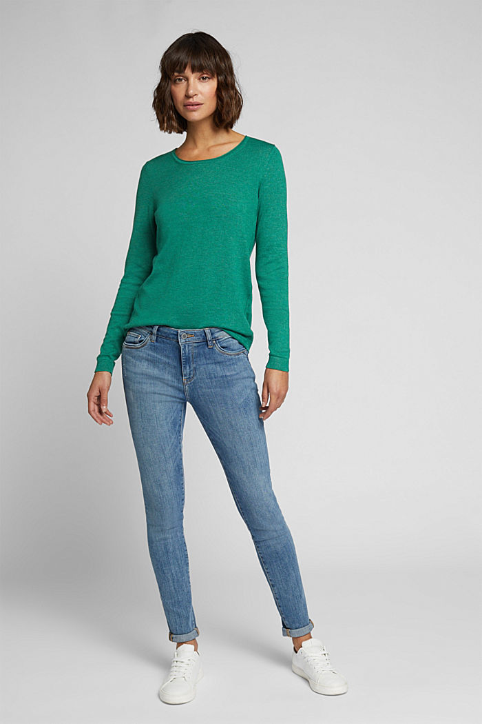 Basic crewneck jumper, organic cotton, DARK GREEN, detail image number 1