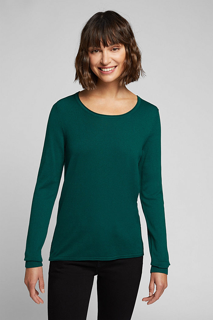 Basic crewneck jumper, organic cotton, DARK TEAL GREEN, detail image number 0