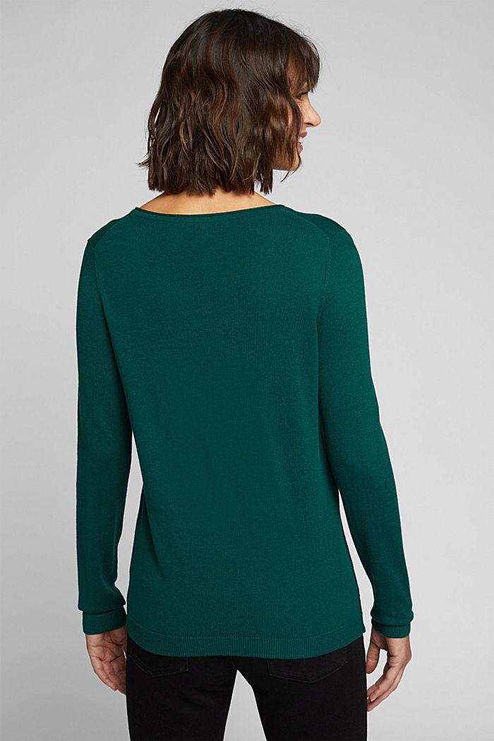 Basic crewneck jumper, organic cotton, DARK TEAL GREEN, detail image number 3