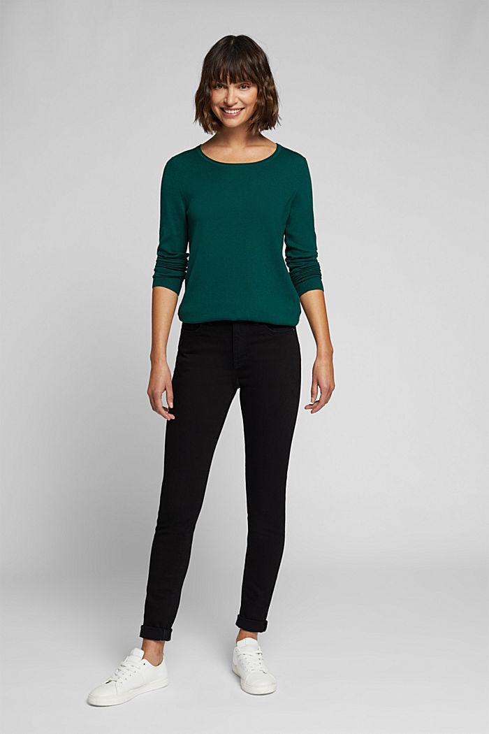 Basic crewneck jumper, organic cotton, DARK TEAL GREEN, detail image number 1