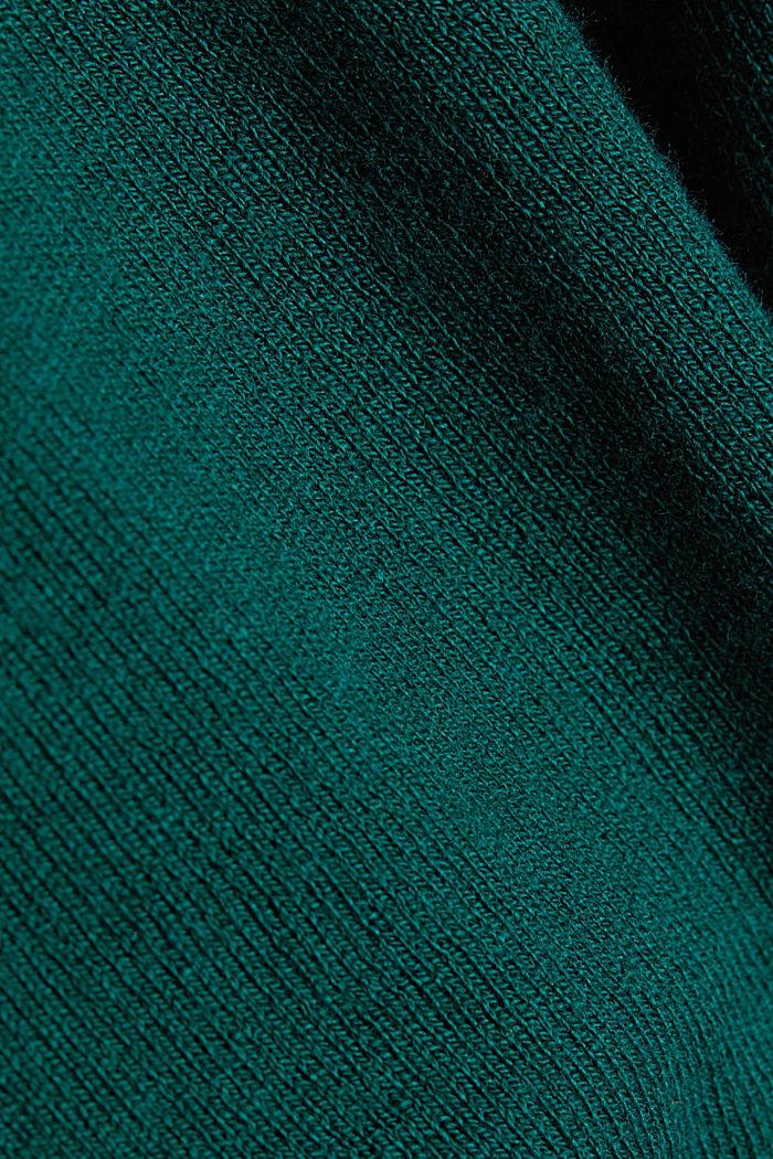 Basic crewneck jumper, organic cotton, DARK TEAL GREEN, detail image number 4