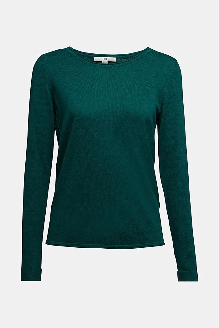 Basic crewneck jumper, organic cotton, DARK TEAL GREEN, detail image number 6