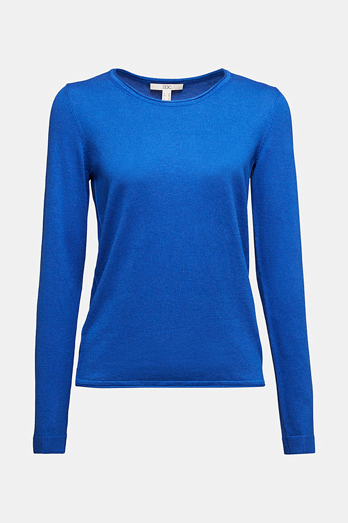 Basic crewneck jumper, organic cotton, BRIGHT BLUE, overview