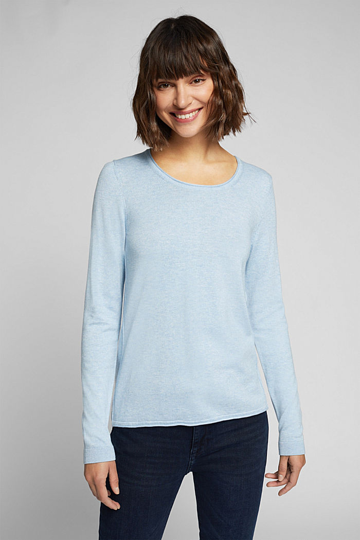 Basic crewneck jumper, organic cotton, LIGHT BLUE, detail image number 0