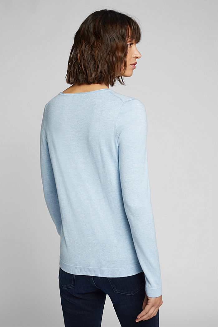 Basic crewneck jumper, organic cotton, LIGHT BLUE, detail image number 3