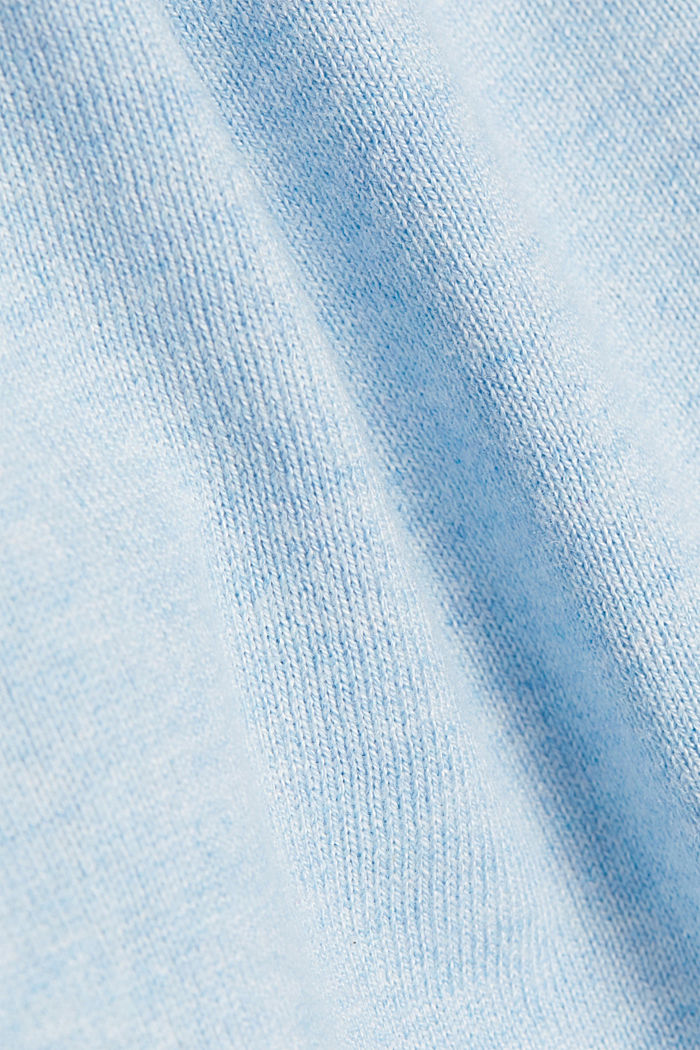 Basic crewneck jumper, organic cotton, LIGHT BLUE, detail image number 4
