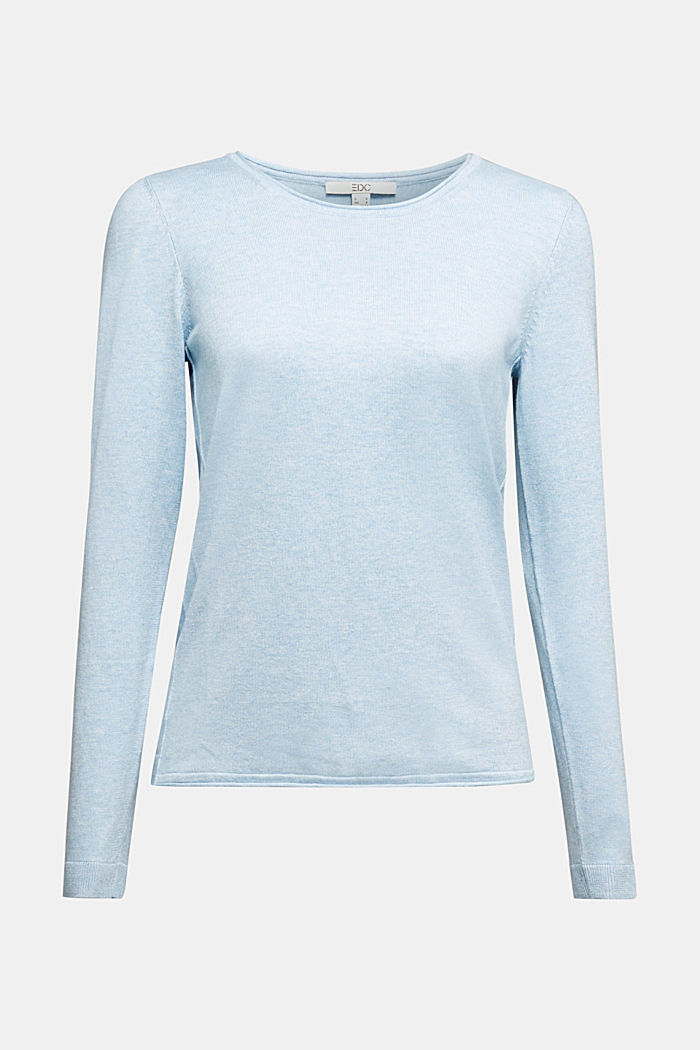 Basic crewneck jumper, organic cotton, LIGHT BLUE, detail image number 5