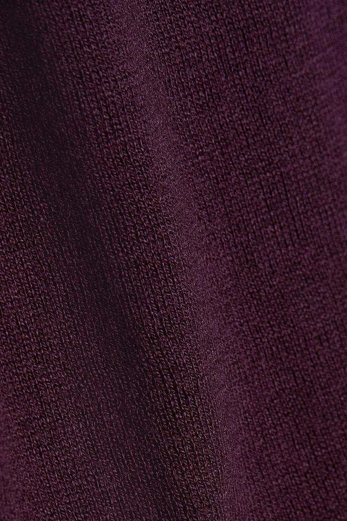 Basic crewneck jumper, organic cotton, AUBERGINE, detail image number 4