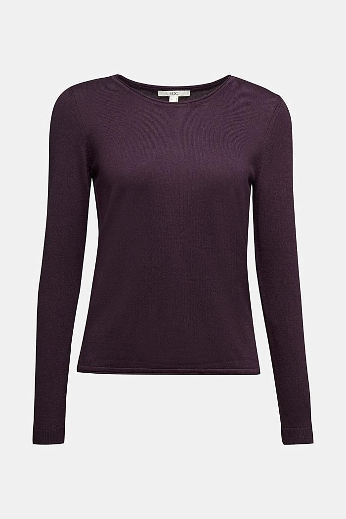Basic crewneck jumper, organic cotton, AUBERGINE, detail image number 5