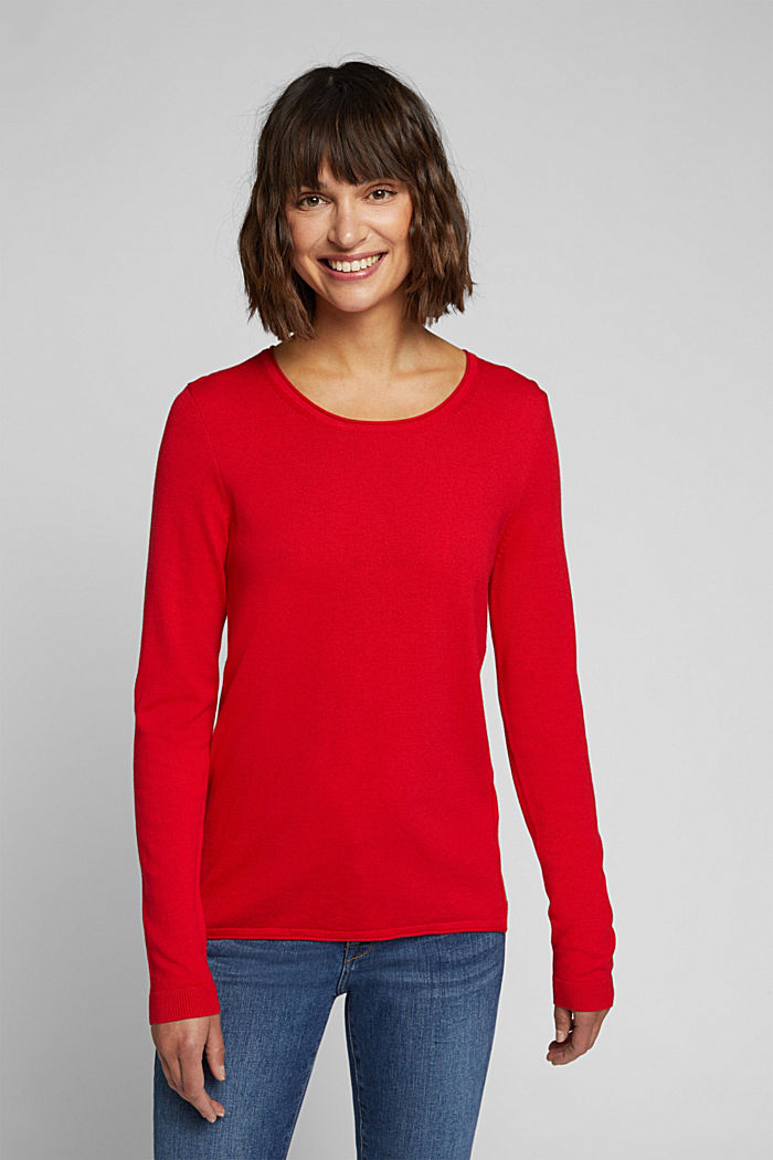 Basic crewneck jumper, organic cotton, RED, detail image number 0