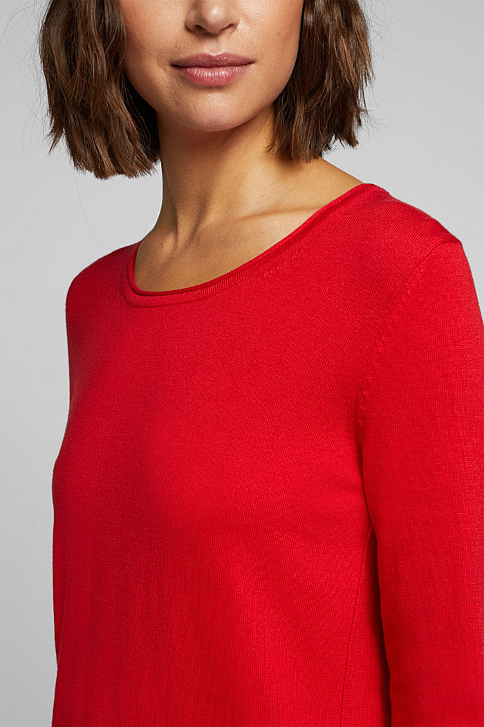 Basic crewneck jumper, organic cotton, RED, detail image number 2