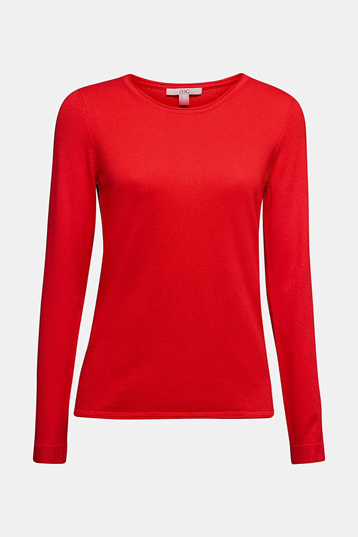 Basic crewneck jumper, organic cotton, RED, detail image number 6