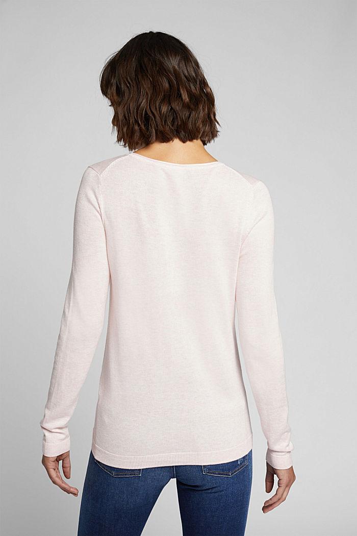 Basic crewneck jumper, organic cotton, LIGHT PINK, detail image number 3