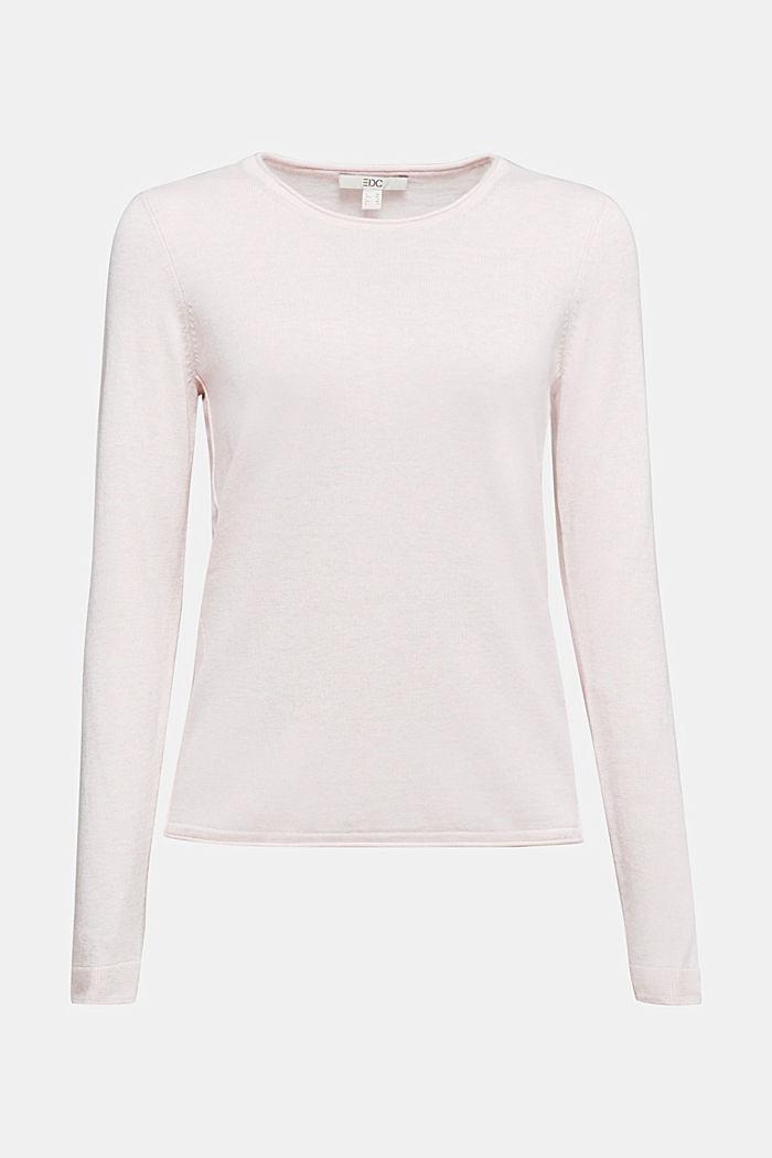 Basic crewneck jumper, organic cotton, LIGHT PINK, detail image number 5