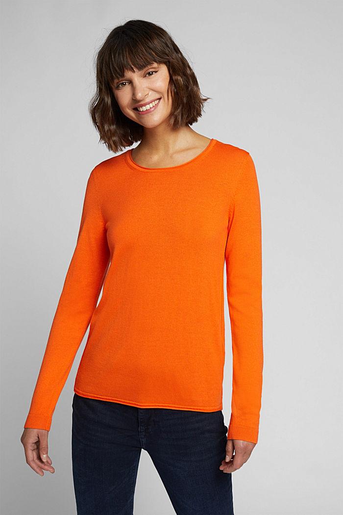 Basic crewneck jumper, organic cotton, ORANGE, detail image number 0