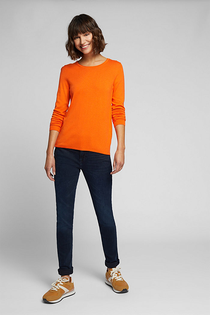 Basic crewneck jumper, organic cotton, ORANGE, detail image number 1