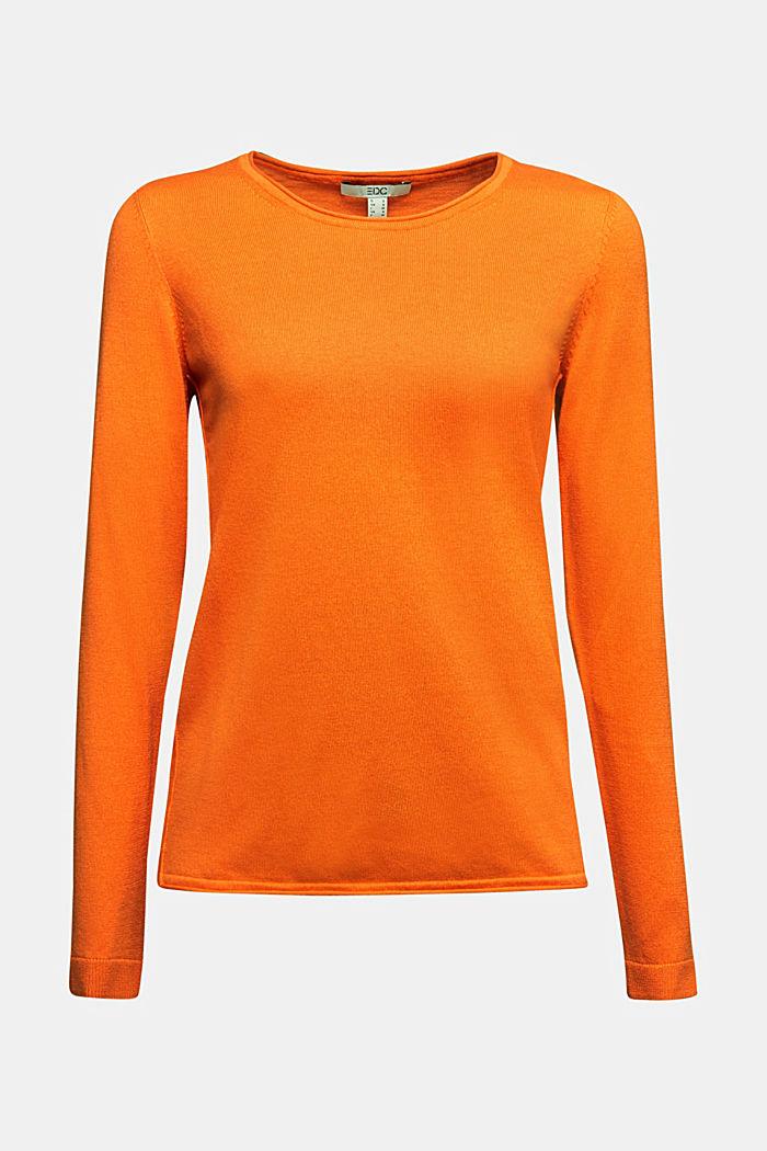 Basic Rundhals-Pullover, Organic Cotton, ORANGE, detail image number 5