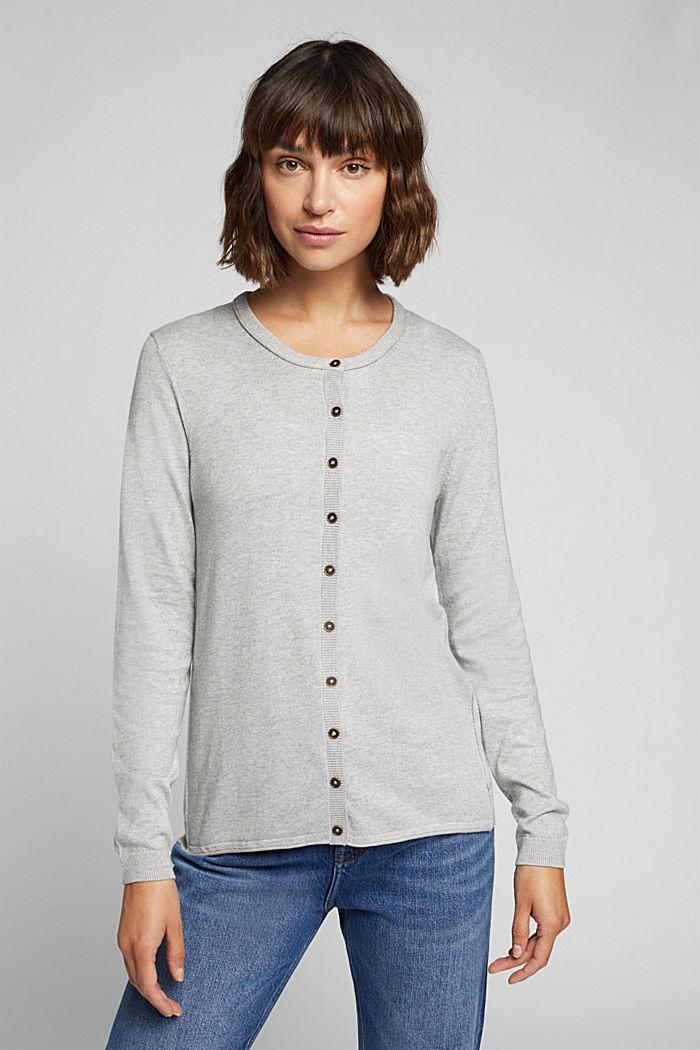 Basic cardigan, organic cotton, LIGHT GREY, detail image number 0