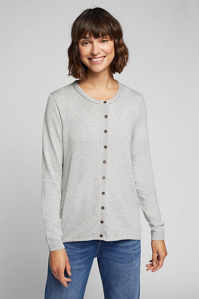 Basic cardigan, organic cotton, LIGHT GREY, detail image number 5