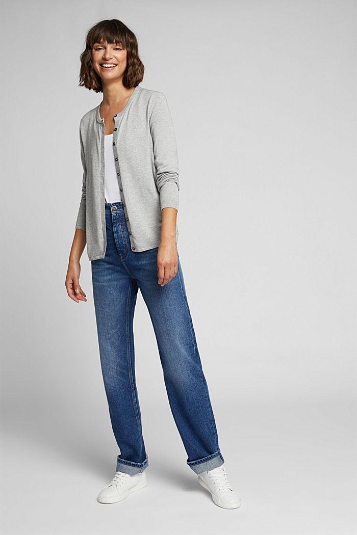 Basic cardigan, organic cotton, LIGHT GREY, detail image number 1