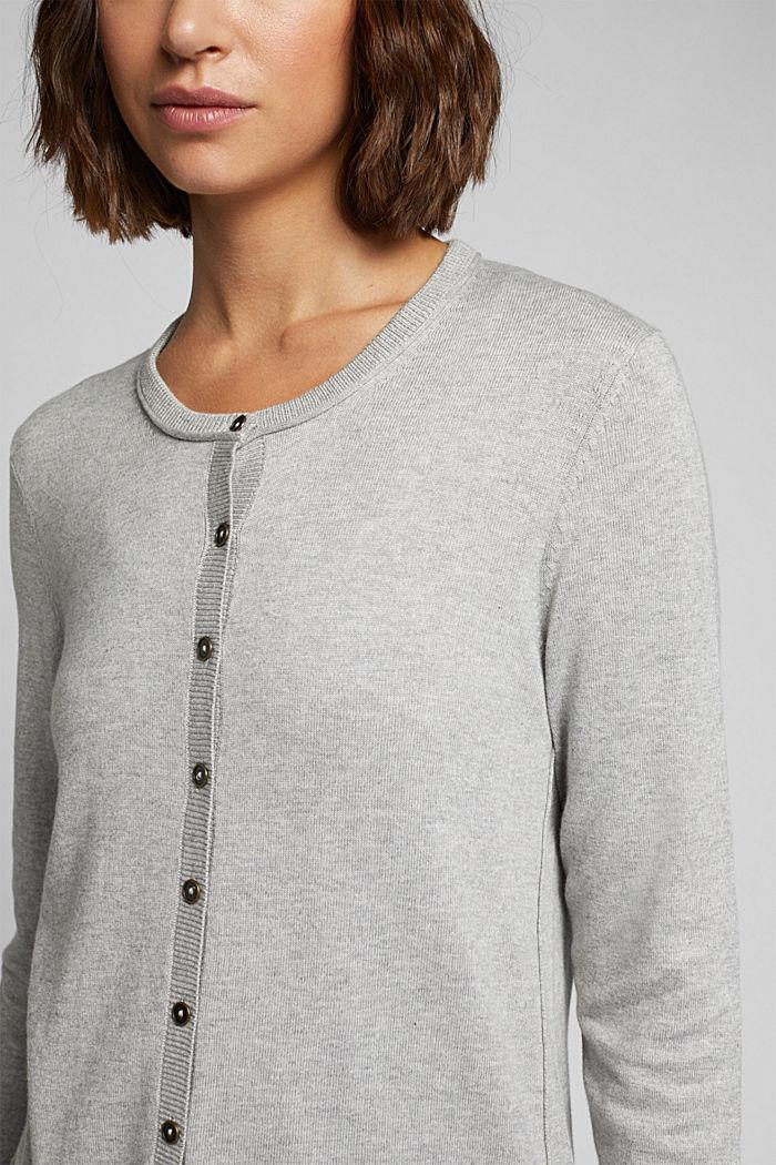 Basic cardigan, organic cotton, LIGHT GREY, detail image number 2