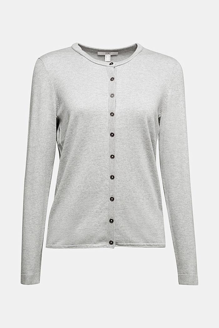 Basic cardigan, organic cotton, LIGHT GREY, detail image number 6