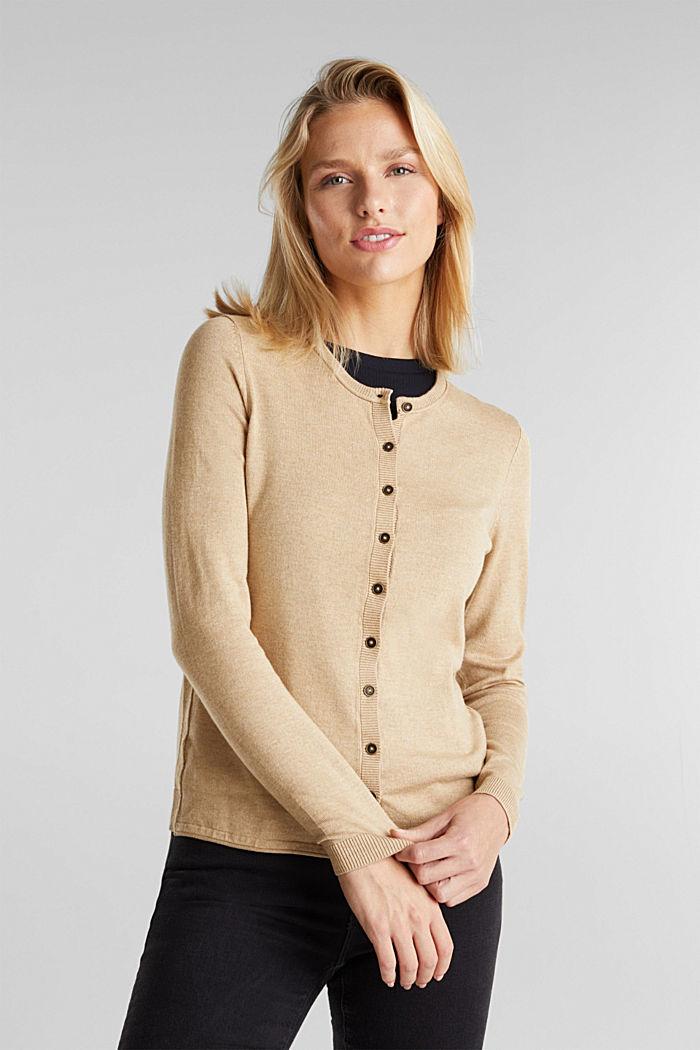 Basic cardigan, organic cotton, BEIGE, detail image number 0