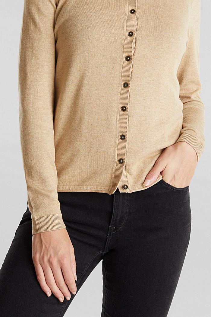 Basic cardigan, organic cotton, BEIGE, detail image number 2