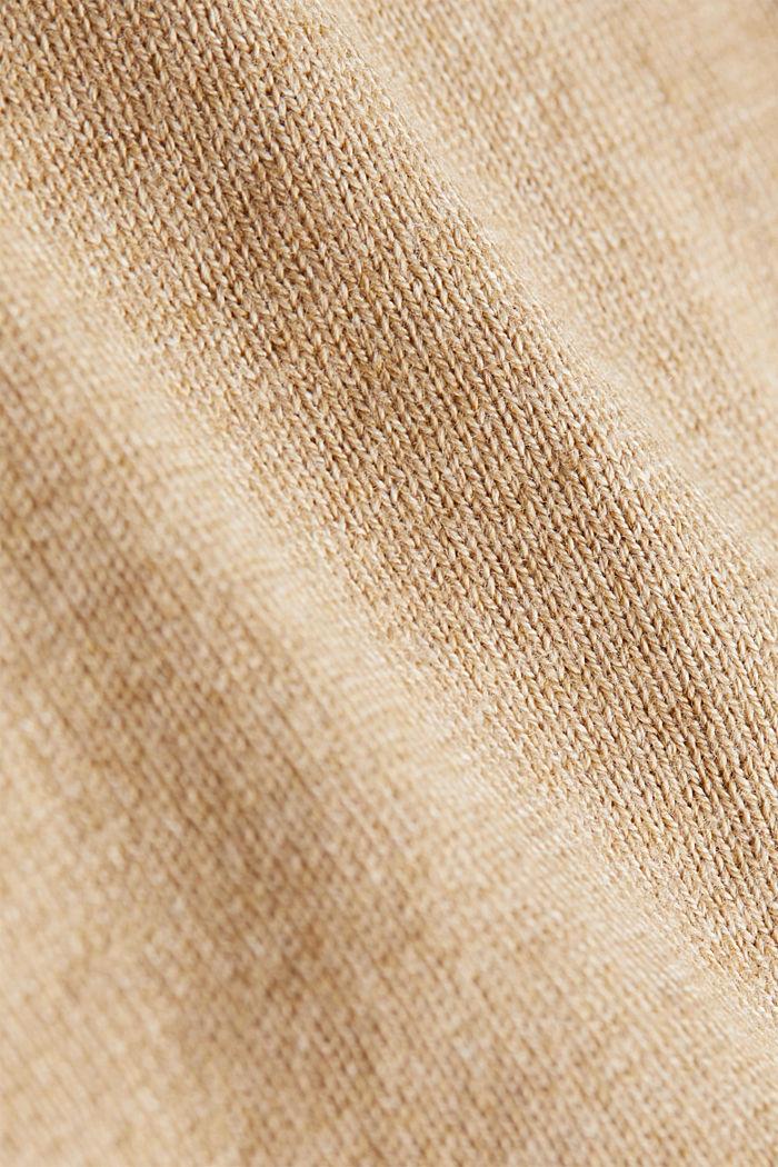 Basic cardigan, organic cotton, BEIGE, detail image number 4