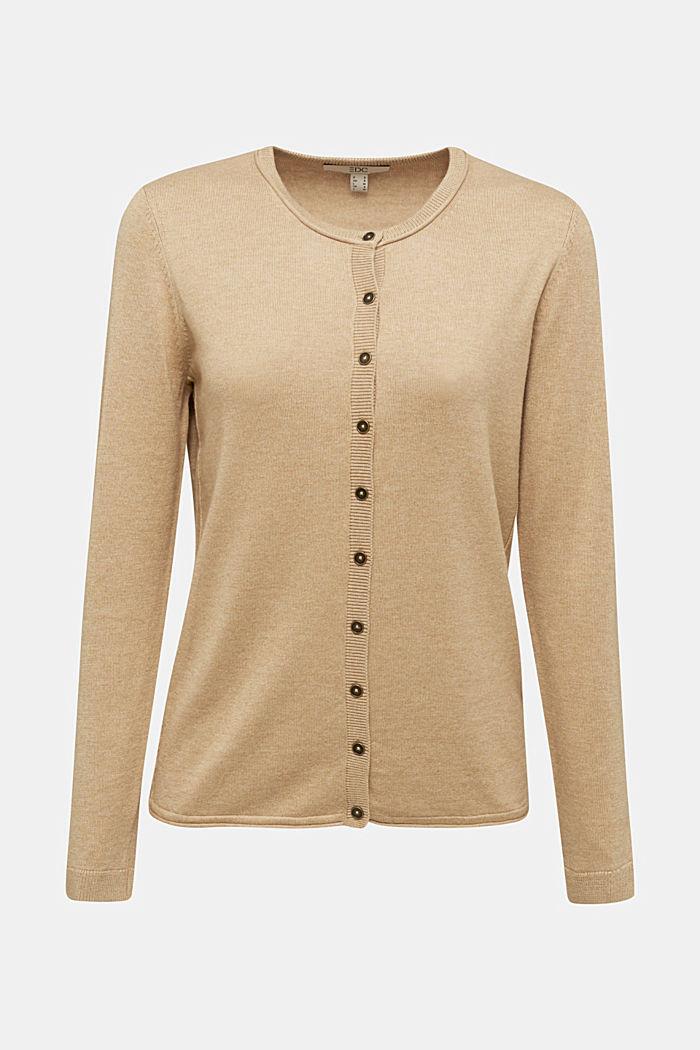 Basic cardigan, organic cotton, BEIGE, detail image number 6