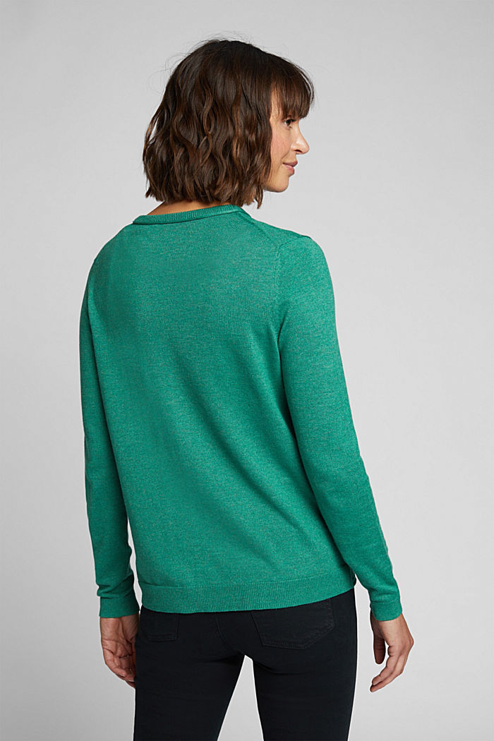 Basic cardigan, organic cotton, DARK GREEN, detail image number 3