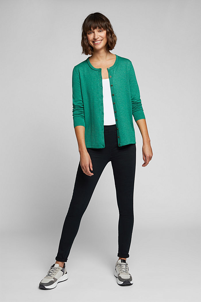 Basic cardigan, organic cotton, DARK GREEN, detail image number 1