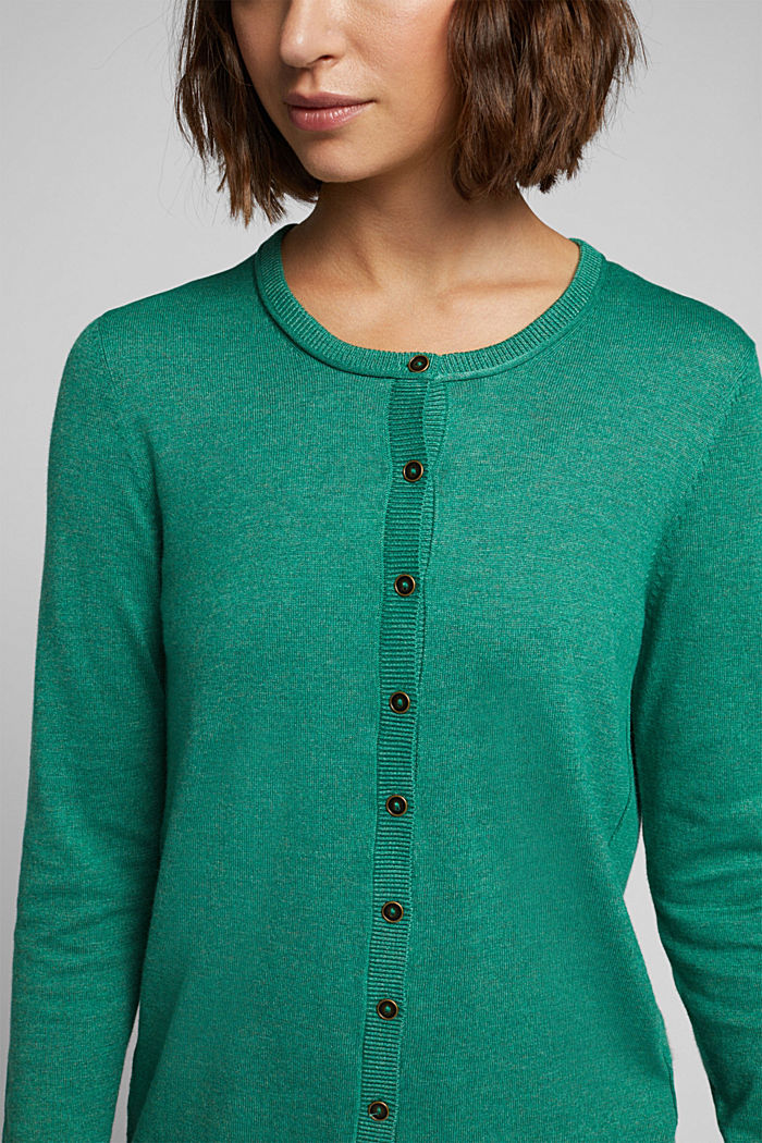 Basic cardigan, organic cotton, DARK GREEN, detail image number 2