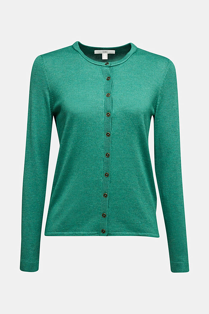 Basic cardigan, organic cotton, DARK GREEN, detail image number 5