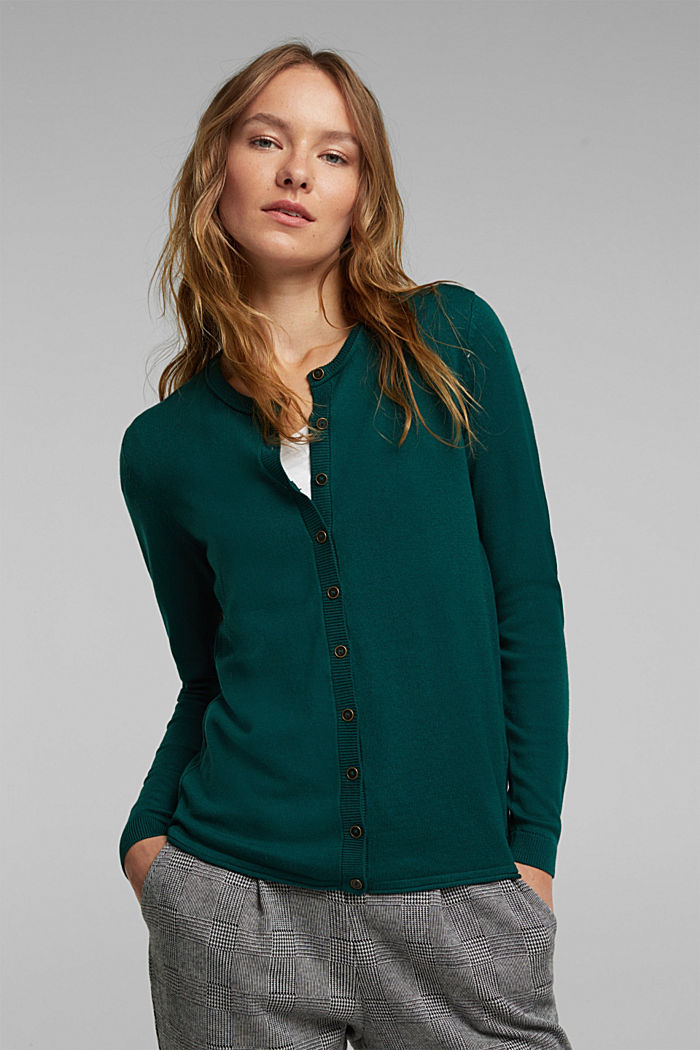 Basic cardigan, organic cotton, DARK TEAL GREEN, detail image number 0