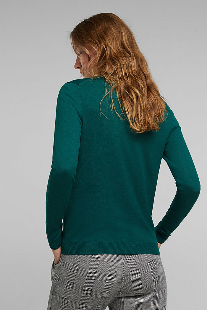 Basic cardigan, organic cotton, DARK TEAL GREEN, detail image number 3