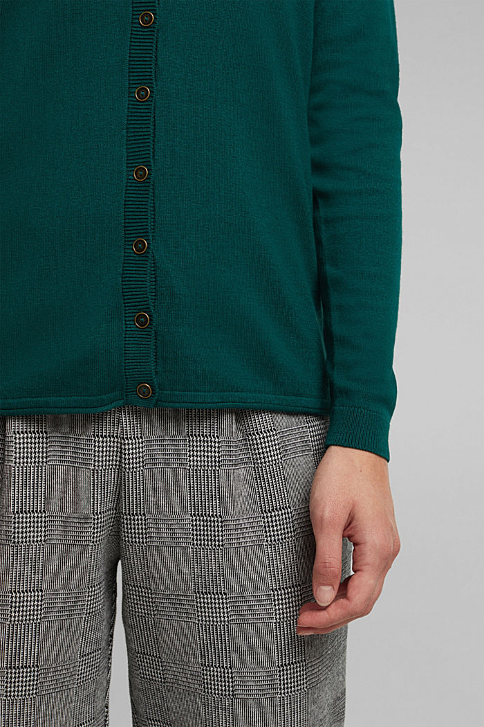 Basic cardigan, organic cotton, DARK TEAL GREEN, detail image number 2