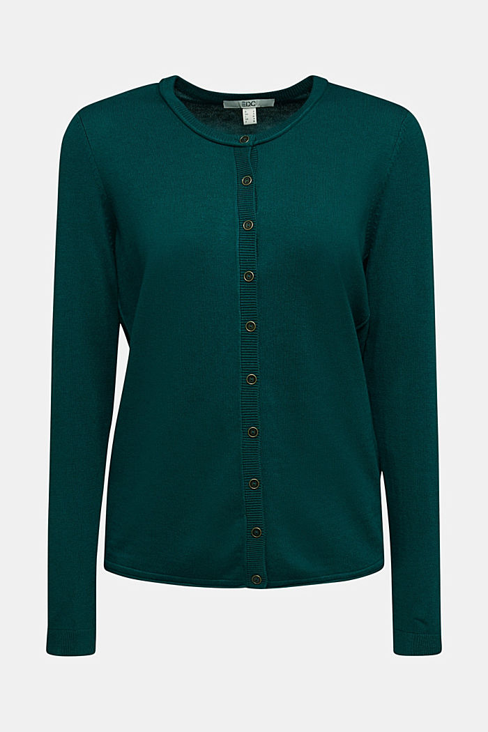 Basic cardigan, organic cotton, DARK TEAL GREEN, detail image number 5