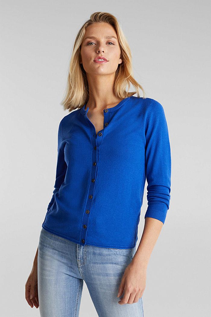 Basic cardigan, organic cotton, BRIGHT BLUE, detail image number 0