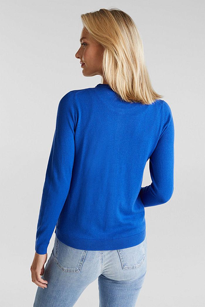 Basic cardigan, organic cotton, BRIGHT BLUE, detail image number 3