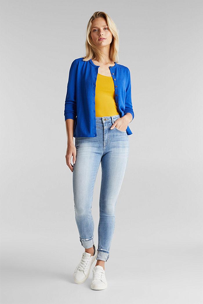 Basic cardigan, organic cotton, BRIGHT BLUE, detail image number 1