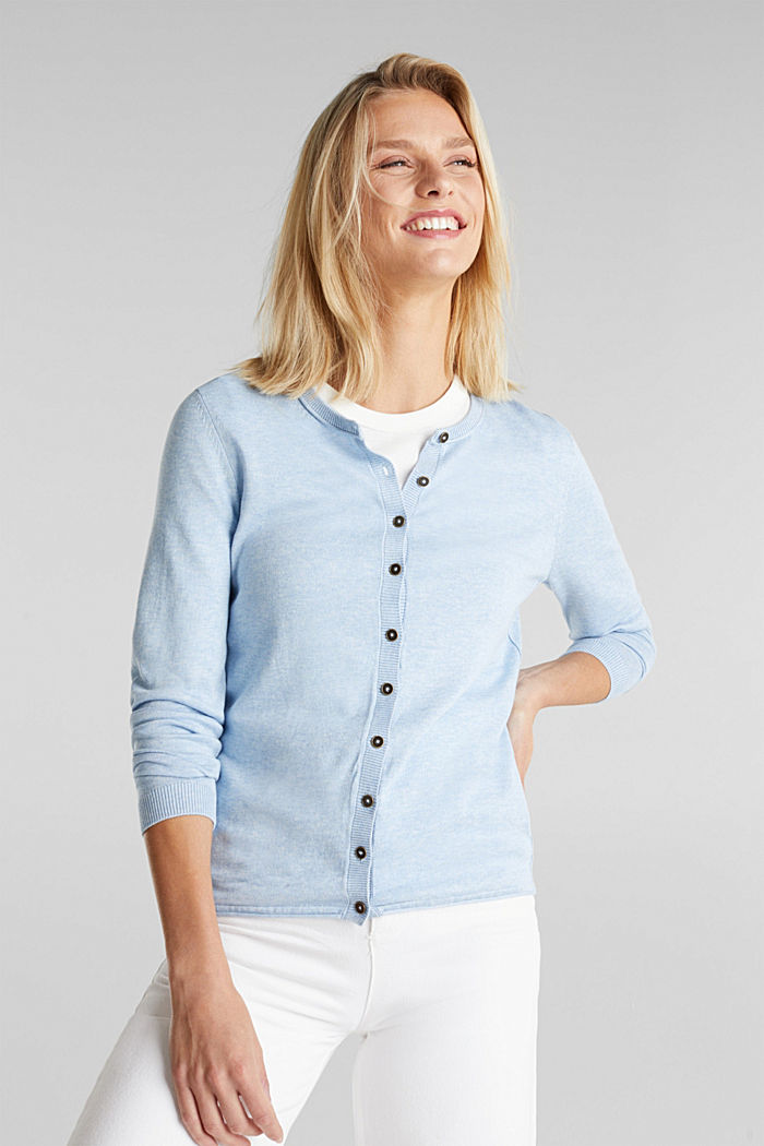 Basic cardigan, organic cotton, LIGHT BLUE, detail image number 0