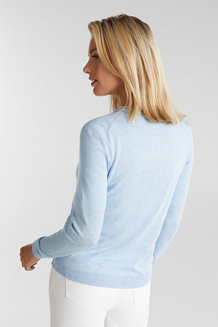 Basic cardigan, organic cotton, LIGHT BLUE, detail image number 3